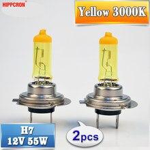 Hippcron lâmpada halógena h7, 12v, 55w, amarela, 3000k, vidro de quartzo, lâmpada automotiva (2 peças)