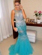 Boot-ausschnitt Sweep Zug Sleeveless Blau Sexy Backless Nixe-langes Abendkleid Abendkleider Kristall 2016
