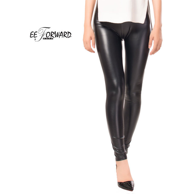 f2f3685a4976e8 High Quality Faux Leather Solid Black Elasticity Fashion Sexy Leggings Women  Bodycon Push Up Pants Mujer Pantalon Slim Trousers