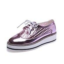 ฤดูร้อนตาข่ายกลวงแพลตฟอร์มฟอร์ดรองเท้าสำหรับผู้หญิงสีชมพูเงินC Reepers B Lingแฟลตลูกไม้ขึ้นลำลองผู้หญิงB Rogueรองเท้า3สี