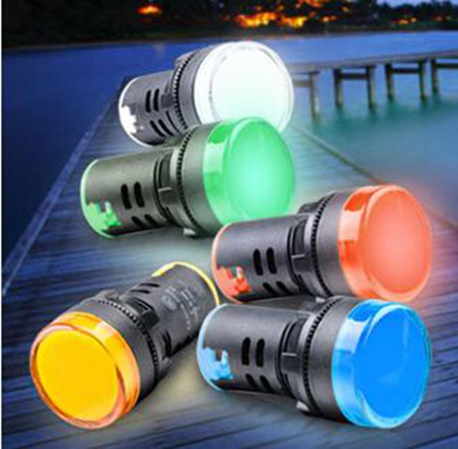 22mm Red/Yellow/Blue/Green/White AD16-22DS LED Indicator Lights Signal Pilot Lamp 6.3/12/24/36/48/110/220/380V dc 12v pt1 16 thread red pilot lamps indicator signal light 5pcs