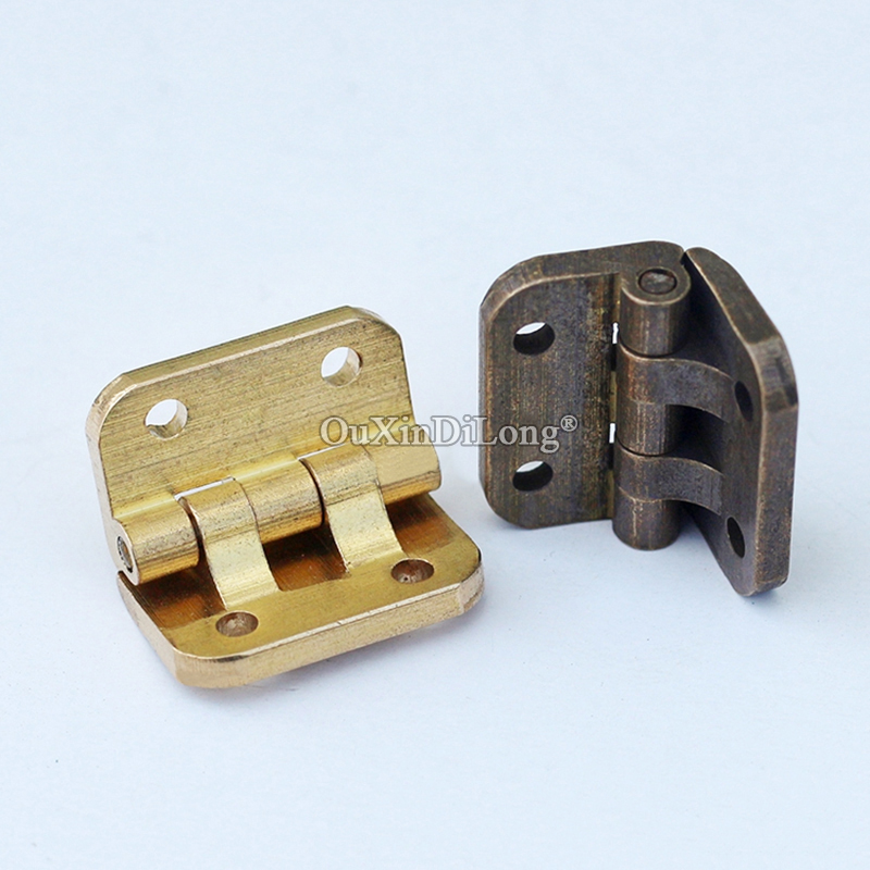 Retro 50PCS Antique 90 Degree Cabinet Drawer Hinges Wooden Furniture Jewelry Gift Box Brass Hinges Mini