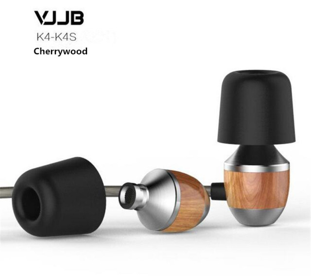 Original VJJB K4 K4S Wooden Bass In-Ear Headphone Cherry Ebony Earbuds DIY Magic Sound Headset With Mic Upgrade VJJB V1 Earphone