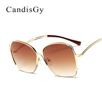 Bending Curved Frame Women Mirror Sunglasses Men Fashion Brand Designer Steampunk Round Lady Sun Glasses Female Half Frame