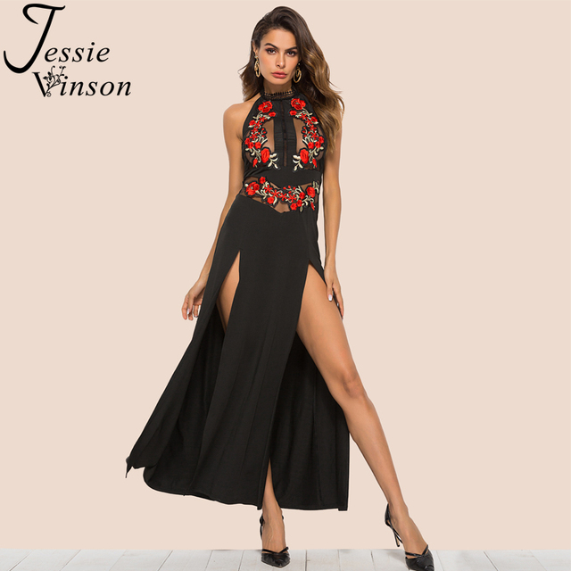 42e9045ce08 Jessie Vinson Off Shoulder Backless Split Long Dress Women Embroidery Floral  Mesh Plus Size Maxi Dress for Party Black Dress