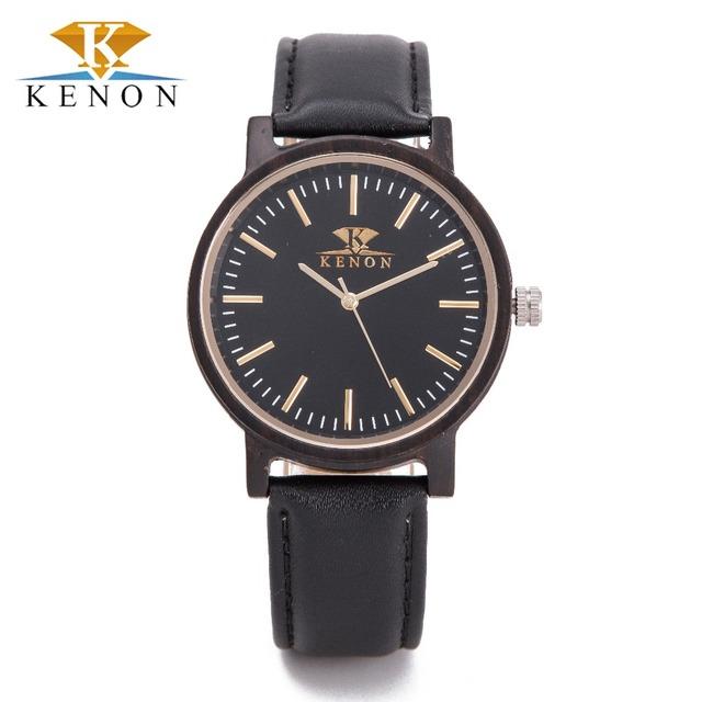 2016 Hombres Correa de Cuero Relojes Kenon de Ébano Natural De Madera Del Reloj Mujeres de Los Hombres de Lujo Reloj de Cuarzo Reloj de pulsera Para El Regalo del Amante