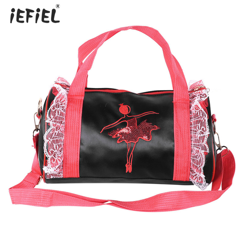 Adorable Kids Girls Ballet Dance Bag Embroidered Dancing Duffle Bag Hand Practice Shoulder Bag Ballet Ballerina Bags for Girls