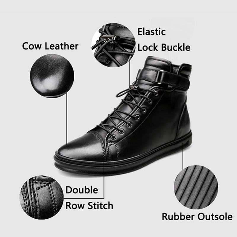 JUNJARM Handmade Leather Men Snow Boots Winter Lace Up Buckle Furry Men Ankle Boots Keep Warm Flats Boots Men Big Size 38 48 in Basic Boots from Shoes