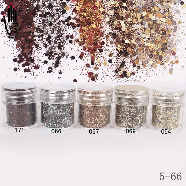 1 Jar/Box 10ml 5 Kaffee Farben Mix Nail Glitter Pulver Pailletten Pulver Für Nagel Kunst Dekoration Optional 300 farben Fabrik 5 66