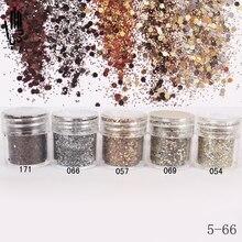 Poudre à paillettes pour ongles, mélange de couleurs café, 5 ml, 10ml, pour Nail Art et décoration de manucure, 300 couleurs en option en usine, 5 66
