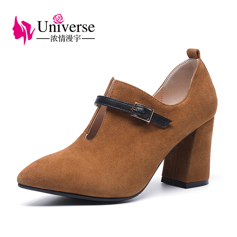 Universe fashion buckle chunky heel pumps female suede leather shoes high heel for ladies H016