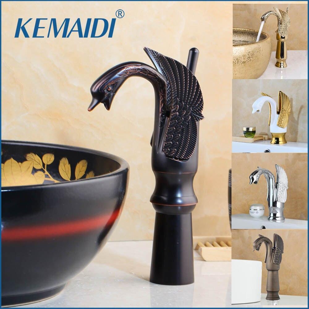 KEMAIDI Лебедь Форма латунь бассейна Раковина кран для ванной, с одним отверстием Центровой смеситель коснитесь хромированный для ванной смес...