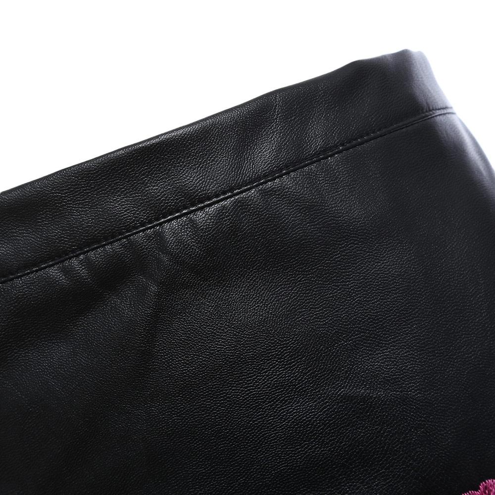 VESTLINDA Black Skirt Floral Embroidery Vintage PU Leather Pencil Skirt Women Slim High Waist Zipper Mini Ethic Plus Size Skirts 16