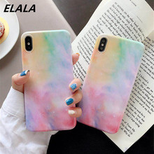 ELALA Glossy Phone Case For iPhone XR Soft IMD Colorful Glitter Back Cover 6 6S 7 8 Plus X XS MAX Cases Coque