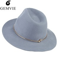 59927acd20 Brand New Women Wool Fedoras Hats With Metal Ring Wide Brim Panama Hat  Winter Warm Jazz