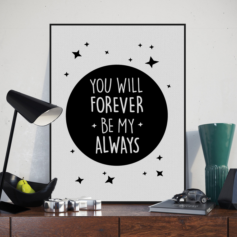 Love Quotes For Kids Nordic Minimalist Black White Star Typography Love Quotes Art