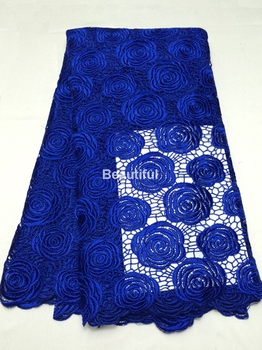 Big promotion high quality royal blue chemical water soluble african cord  lace fabric French net guipur for sewing dress