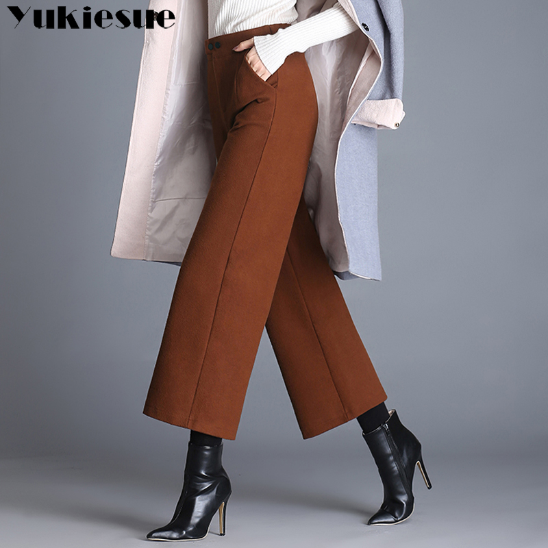 High waist wide leg   pants   woman 2017 winter formal loose casual   pants   women wollen trousers female   pants     capris   pantalon femme