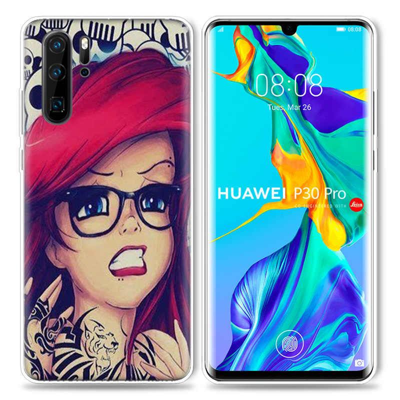 Tätowierte Prinzessin Ariel Fall für Huawei P20 P30 P40 Lite E P Smart Z Plus 2019 Mate 30 10 20 pro Silikon Telefon Taschen Capa