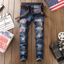 цены на 2019 Summer new arrival blue jeans hole men straight embroidery brand homme denim trousers slim fit plus size 29-38 jeans pants  в интернет-магазинах