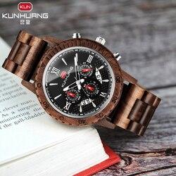 Dropshipping wysokiej jakości męskie drewniane zegarki luksusowy zegarek na rękę jakości kwarcowy kalendarz Relogio Masculino J13|Zegarki kwarcowe|   -