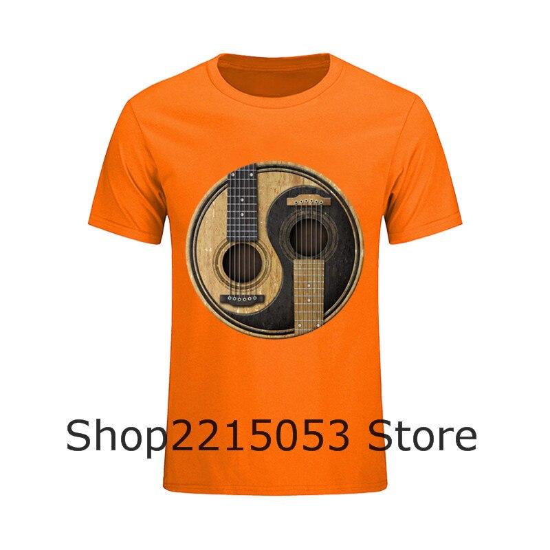 Twin peaks vespa tops unicorn kawaii crop top cropped Mens Fashion tee t-shirts Acoustic Guitars Yin Yang print t shirts ftp
