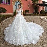 Fsuzwel Sexy Boat Neck Lace Up Royal Train A Line Wedding Dress 2020 Luxury Beaded Appliques Princess Bride Gown Robe De Mariage