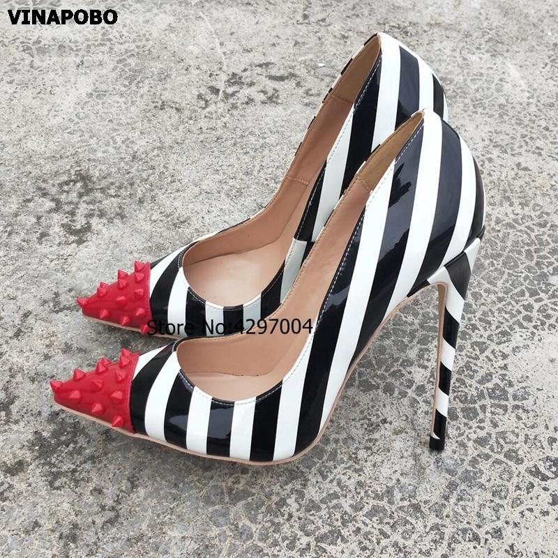 2019 Vinapobo White Black Mix Color Rivet Pumps patent leather Stiletos High Heel Design Women Party Wedding Shoes Shallow Pumps