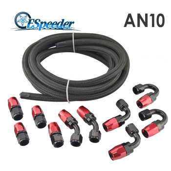 AN10 Oil Fuel Fittings Red And Black Hose End Oil Adaptor Kit AN10 Nylon Braided Black Hose Oil Fuel Hose Line 5M fittings and braided hose