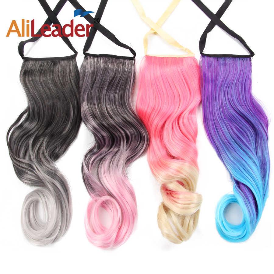 """Alileader 20 """"Flip onda larga cola de caballo extensiones de cabello Natural Clip en cola de Pony pelo sintético Ombre cuerpo rosa azul pelo de la onda"""