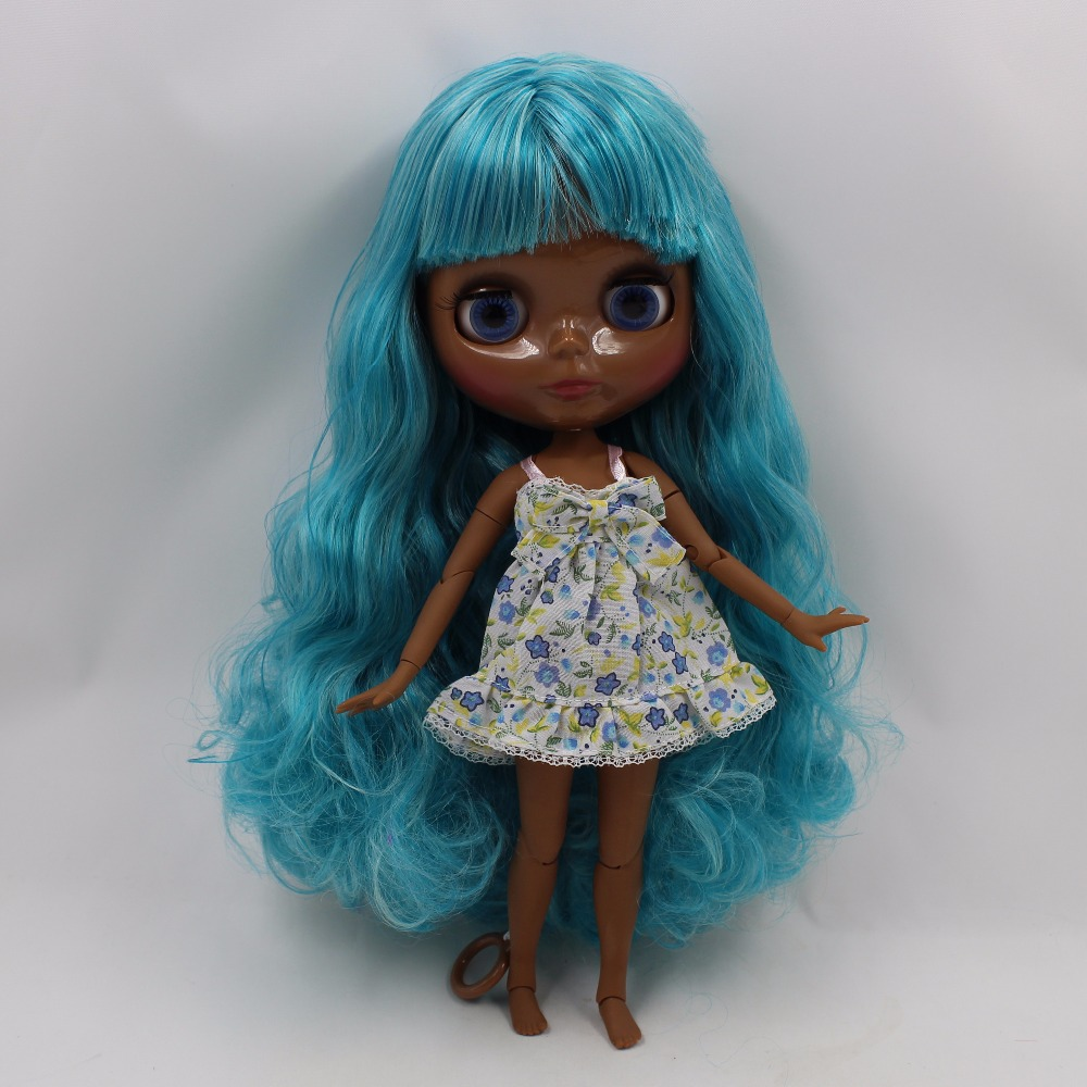 Neo Blythe Doll with Aquamarine Hair, Black skin, Shiny Face & Jointed Body 1