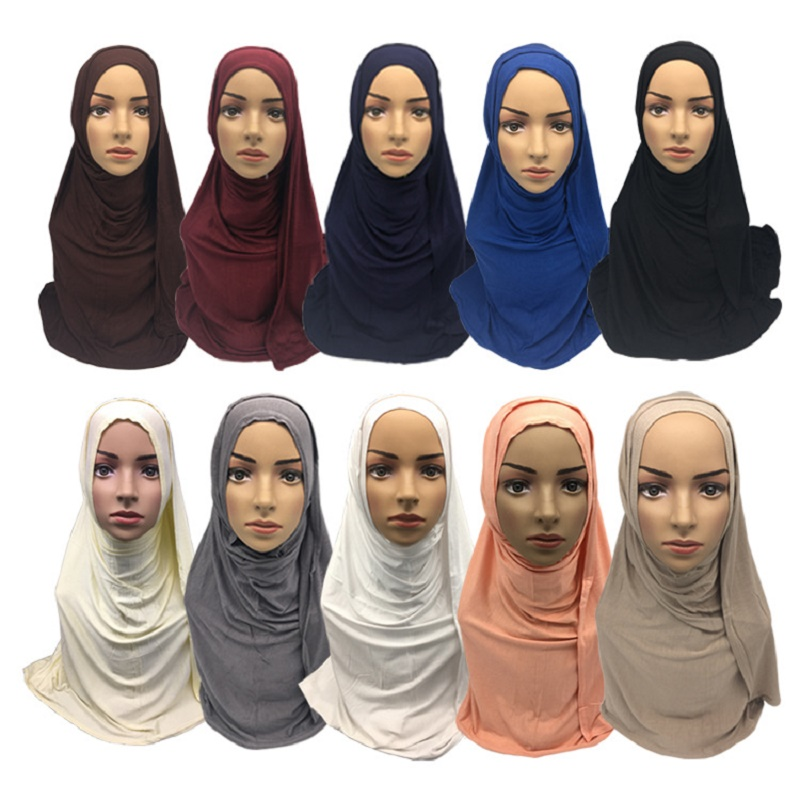 High Quality Plain Color Modal Cotton Jersey Hijab Shawl Wrap For Muslim Women Rectangle Islamic Solid Headband Scarves 10pc