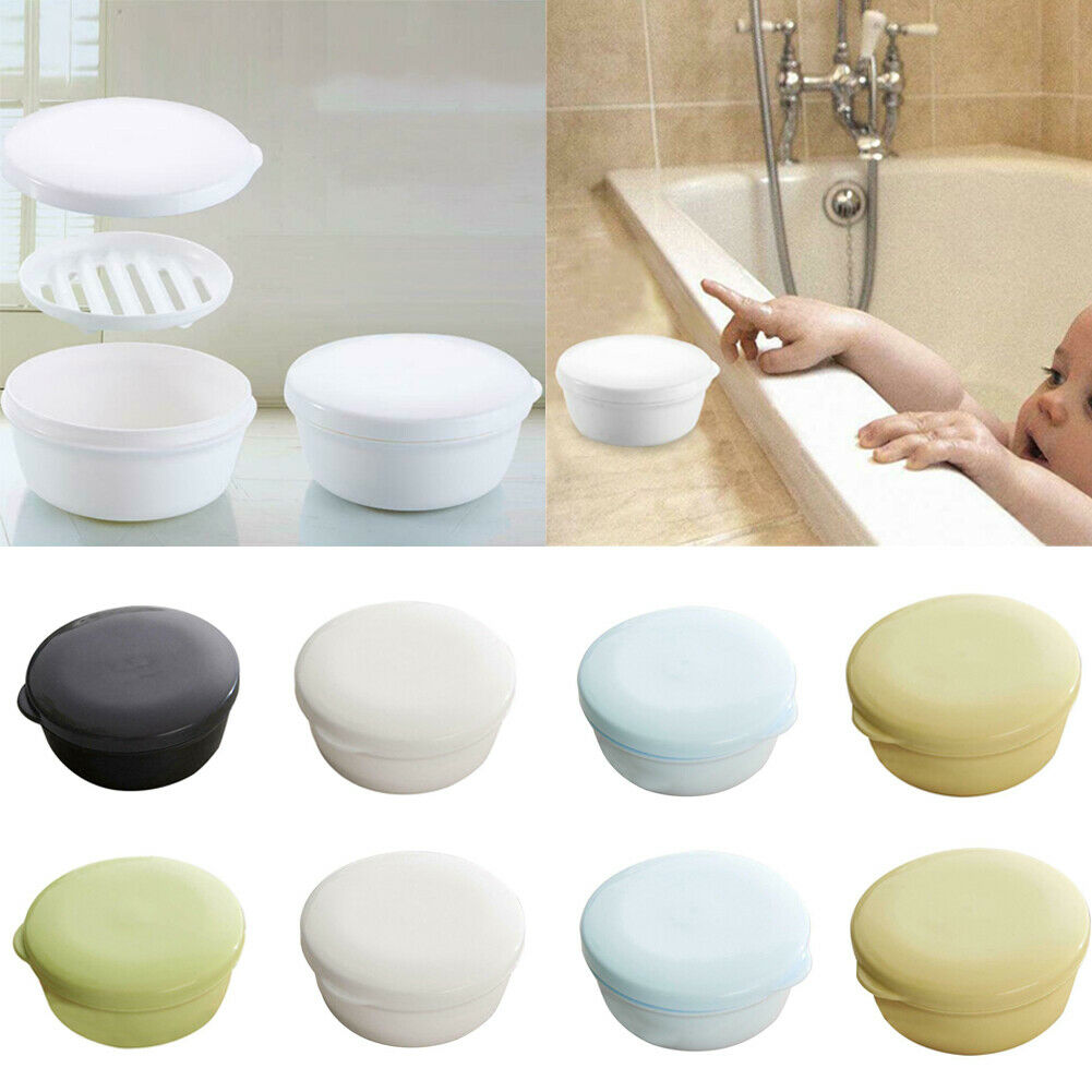 1X Soap Box Portable Case Drain Layer Hower Holder Dish Washing  With Lid Seal Leak-proof Dish Container Drain Layer Bath Tool