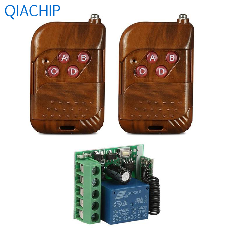 2pcs 433MHz 4 Channel RF Remote Control Switch Transmitter DC 12V Wireless Switch Key Fob 1pc Single Channel Receive Modules