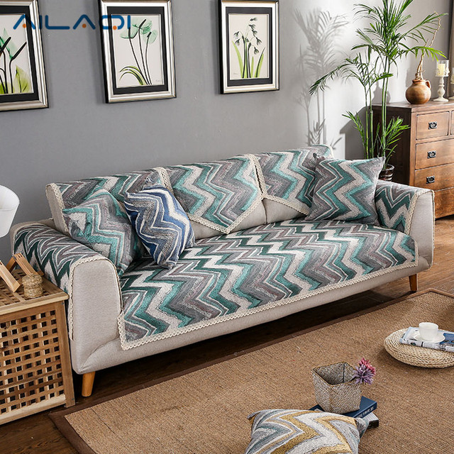 AILAQI Fashion Personality Wild Sofa Cover Striped Cloth Chenille Sofa Sets  For Living Room
