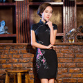 TIC-TEC chinese cheongsam short qipao women black Classic embroidery tradicional elegant party oriental dresses clothes P3102