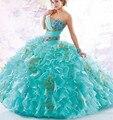 Vestidos românticos De 15 Hortelã Azul Quinceanera 2016 Sweet Heart Ruffles Organza Vestido de Concurso Meninas Sweety Das Mulheres 16