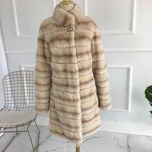 New Real Fur Winter Jacket Women Mandarin Collar long Thick Warm Winter Women Rex Rabbit Coat Real Natural Fur Coats 2018