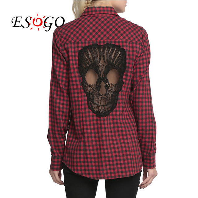 Spring Summer Women Blouses Skull Hollow Out Plaid Shirts Long Sleeve Button Down Shirt Causal Red