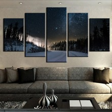 5 Piece Canvas Painting Magical Snowy Road Cuadros Landscape Wall Art Home Decor For Living Room Unique Gift Picture