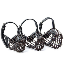 Medium Big Dog Black Metal Wire Dog Muzzles Adjustable Breathable Basket Pet Mouth Cover Anti-Bite Bark Chew Safety Mask