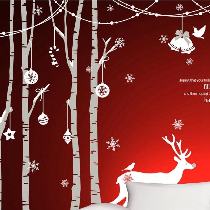 DCTAL Grand De Noël Autocollant X mas Decal Affiches Vinyle Stickers Muraux Décor Peint En Verre Vitrine Décoration de La Maison
