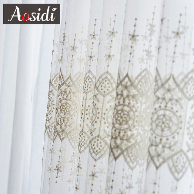 Delicate Embroidered Tulle Curtains 4