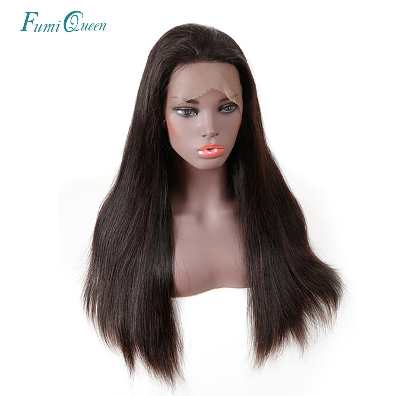 Einfach Ali Fumi Königin Haar Gerade 360 Spitze Vorne Perücken Natürliche # 1b 180% Dichte Natürliche Haaransatz Brasilianische Haar Remy Menschenhaar Haar Perücken Spitzenperücke Aus Echthaar Haarverlängerung Und Perücken
