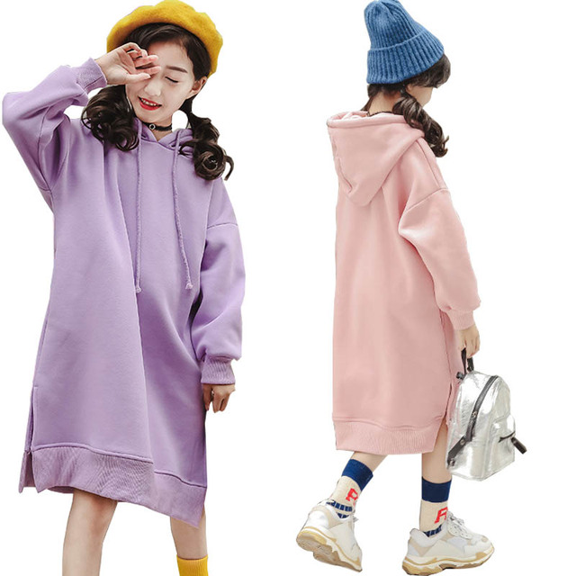 ccb046da1 Kids Dresses for Girls Hoodie Dress Winter Fleece Thick Violet Children's  Long Sweater Dress Clothes Kids Outfits 8 10 12 Years