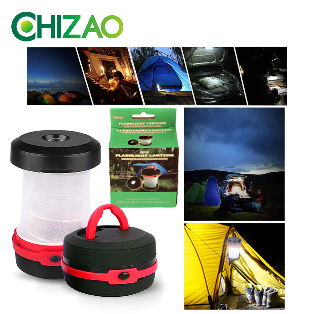 Купить с кэшбэком CHIZAO Multi-function Retractable Spring Camping Light LED Flashlight Outdoor Portable Flashlight Mini Emergency Light