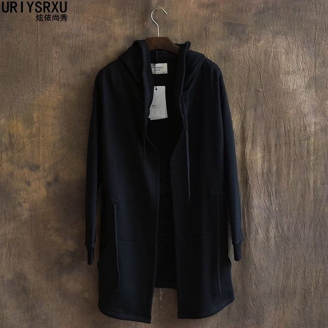 The mainstream pure color hooded men long thin paragraph cardigan trench coat hoodie Big yards wide hood shirt for men