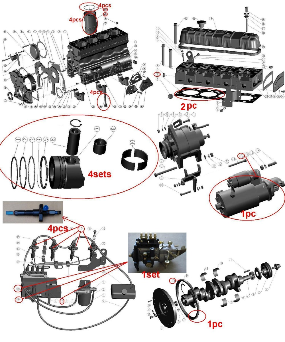 Fast Shipping Diesel engine ZH4102 Gasket Piston start motor Injection Pump Flywheels suit for Weichai Huafeng and other Brand parts for changchai zn490q engine gasket piston rings cylinder liner main bearings water temp sender water pump pistons
