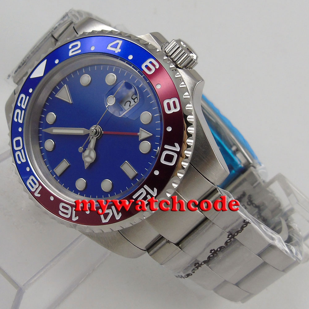 40mm bliger blue dial sapphire glass GMT red Bezel date automatic mens watchB180 цена и фото