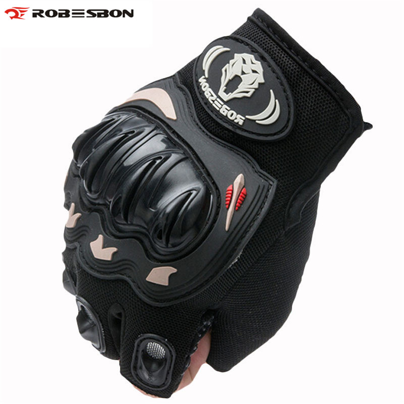 ROBESBON Half Finger Knight Bicycle font b Gloves b font Gel Motocross Mittens Guantes Ciclismo Sport